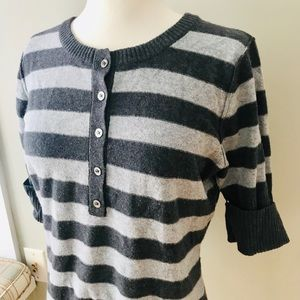 Kaisely Sweaters - SHORT SLEEVE STRIPED SWEATER